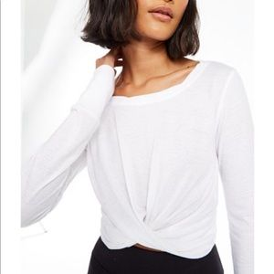 Free People White long sleeve cropped top shirt